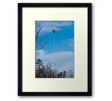 Tree Trimming Helicopter  Framed Print