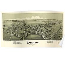 Panoramic Maps Gallitzin Cambria County Pennsylvania 1901 Poster