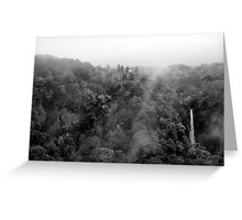 Japan Waterfall Landscape 01 - BW Greeting Card