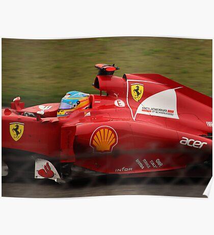 Fernando Alonso's Ferrari exits the pits Poster