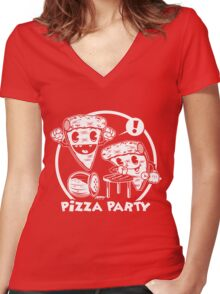 Pizza Party Women's Fitted V-Neck T-Shirt