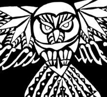 Owl Tribal Design - White  Sticker