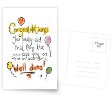 A covering all bases congratuations card.  Postcards