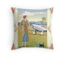 Art Nouveau Jean Batten 1930's Aviator Throw Pillow