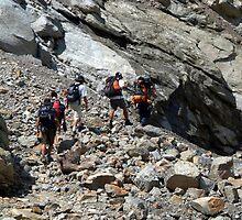 Trekkers Climbing over Landslide by SerenaB