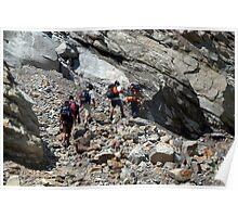 Trekkers Climbing over Landslide Poster
