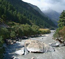 View Along River Marpha to Ghasa by SerenaB