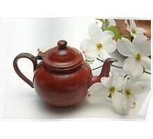 Tiny Teapot with Dogwood Flowers Poster