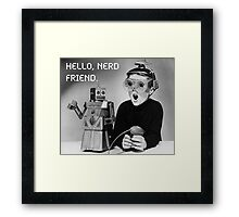 Friendly Robot and Nerd Framed Print