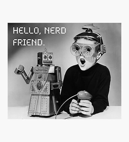 Friendly Robot and Nerd Photographic Print