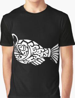 Angler Fish Tribal Design - White Graphic T-Shirt