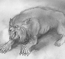 an american werewolf quadraped snarling by mattycarpets