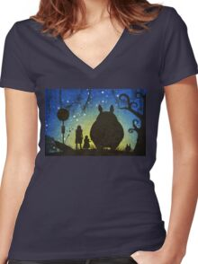 Small Spirits (Totoro) Women's Fitted V-Neck T-Shirt