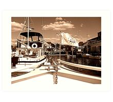 Coming Into The Dock in Sepia Art Print