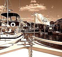 Coming Into The Dock in Sepia by Jane Neill-Hancock