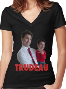 Justin Trudeau Galaxy Women's Fitted V-Neck T-Shirt