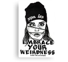 Embrace Your Weirdness - Cara Delevingne Canvas Print