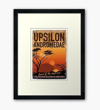 Exoplanet Travel Poster UpsilonAndromedae 4 Framed Print