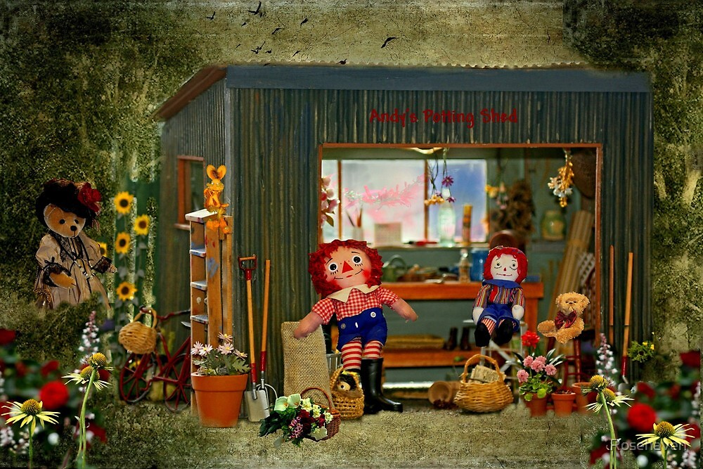 """Teddies Visiting Andy's Potting Shed...."" by Rosehaven"