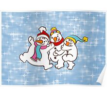 Three Happy Little Snowmen having fun Poster