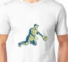 Baseball Catcher Catching Woodcut Unisex T-Shirt
