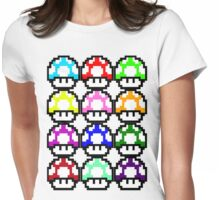 Multi-coloured Mushrooms Womens Fitted T-Shirt