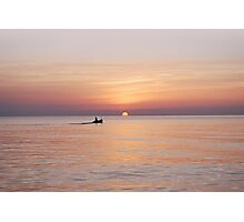 Boat at sunrise Photographic Print