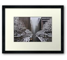 New York - Yellow cab on the 42nd street Framed Print