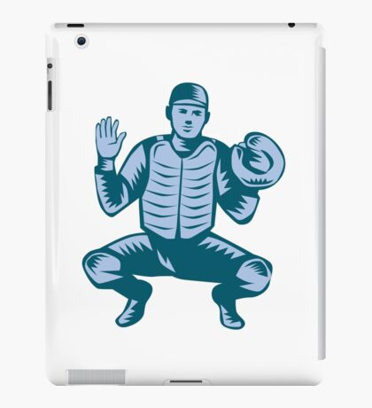 Baseball Catcher Gloves Woodcut iPad Case/Skin