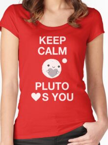 Keep Calm – Pluto Loves You Women's Fitted Scoop T-Shirt