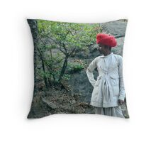 Red turban Throw Pillow