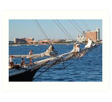 Sailing in Boston Harbor  Art Print