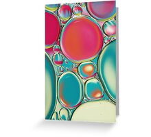 Retro Coloured Oil & Water Drops Greeting Card
