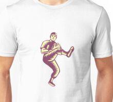 Baseball Pitcher Throwing Ball Woodcut Unisex T-Shirt