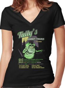 Tully's Ghost Tours Women's Fitted V-Neck T-Shirt