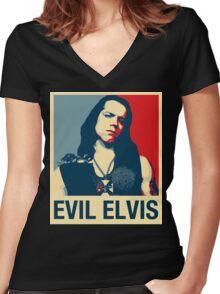 Evil Elvis Women's Fitted V-Neck T-Shirt
