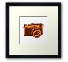 Camera 35mm Vintage Woodcut Framed Print