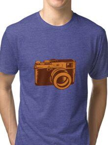 Camera 35mm Vintage Woodcut Tri-blend T-Shirt