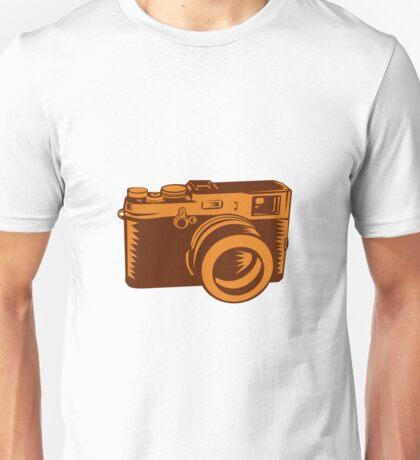 Camera 35mm Vintage Woodcut Unisex T-Shirt