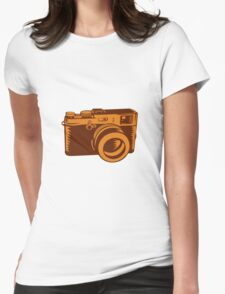 Camera 35mm Vintage Woodcut Womens Fitted T-Shirt
