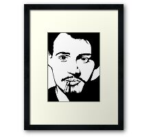 Johnny Depp Black And White Print Framed Print