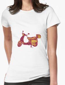 Scooter Bike Side Vintage Woodcut T-Shirt