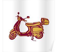 Scooter Bike Side Vintage Woodcut Poster