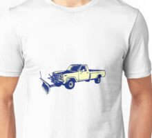 Snow Plow Truck Woodcut Unisex T-Shirt