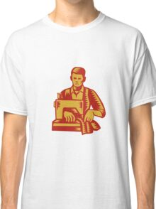 Tailor Sewing Machine Woodcut Classic T-Shirt