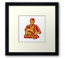 Tailor Sewing Machine Woodcut Framed Print
