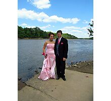 hailey and austin at the river on prom day Photographic Print