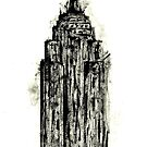 Empire State Building Black And White Painting Print by sirmaverick