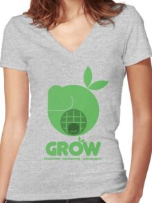 Oxfam: Grow (Design Two) Women's Fitted V-Neck T-Shirt