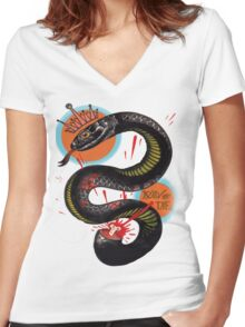 Join or Die. Women's Fitted V-Neck T-Shirt